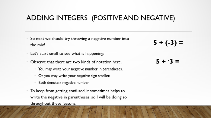 Add and Sub Integers 3