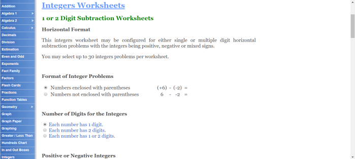 Math-aids integers
